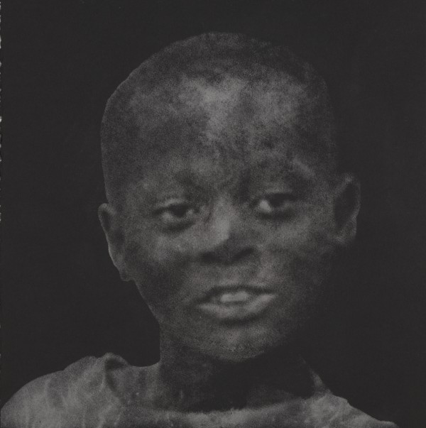 """Portrait of Child Soldier in Diamond Dust (Sierra Leone)"" 5 Carats of Natural Diamond Dust, Silkscreen on Paper, 2009, 15×15″"