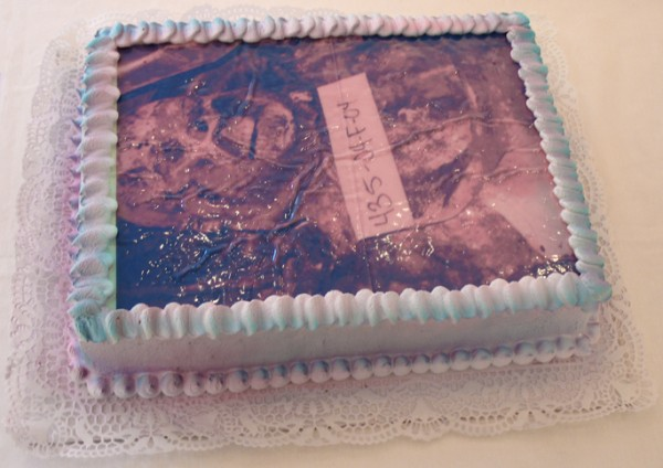"""Fallujah Cake"", Edible Digital Image on White Cake, Icing  Now Art Now Future Biennial, 2008"