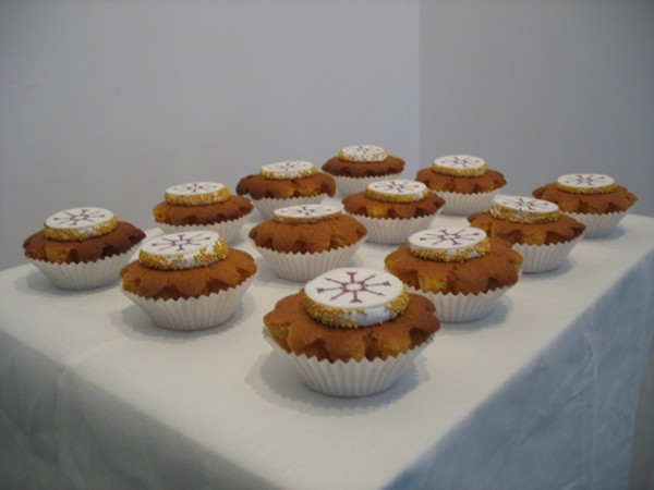 """Cluster Bomb Cupcakes"", Cupcakes with Edible Digital Image, Sprinkles, and Icing  Now Art Now Future Biennial, 2008"