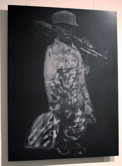 """Child Soldier in Diamond Dust (Sierra Leone Rebels)"" 7 Carats of Natural Diamond Dust Silkscreened on Powder Coated Steel, 2008, 30×22.5″"