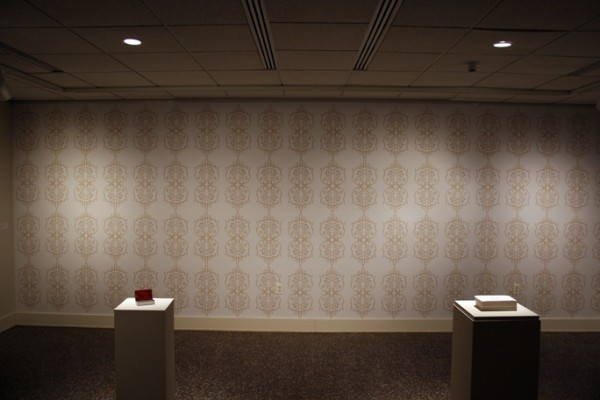 """NATO 5.56 MM Floral Wallpaper"" pigment print on adhesive vinyl, 2007, 23 x 8′"