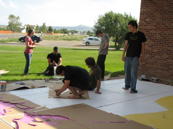 """Rock Springs Youth"" White Mountain Public Library, Rock Springs WY, acrylic patio paint , 2007, 40 x 24′"