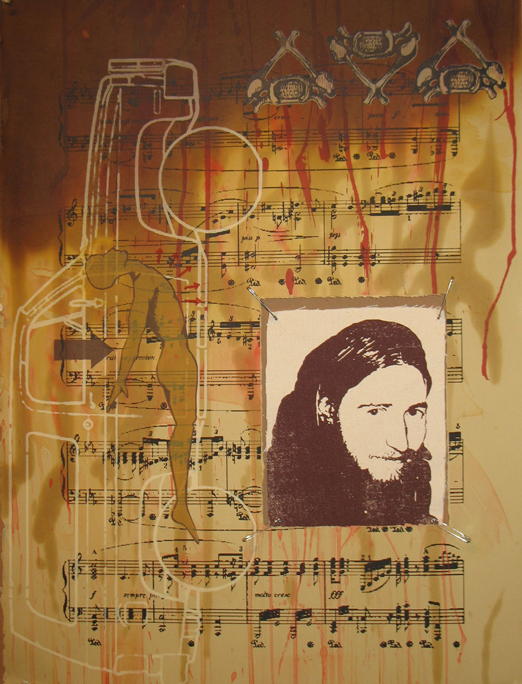 """We Miss You Chris"" silkscreen w/ acrylic, water color, and used motor oil, 2005, 22 x 30″"