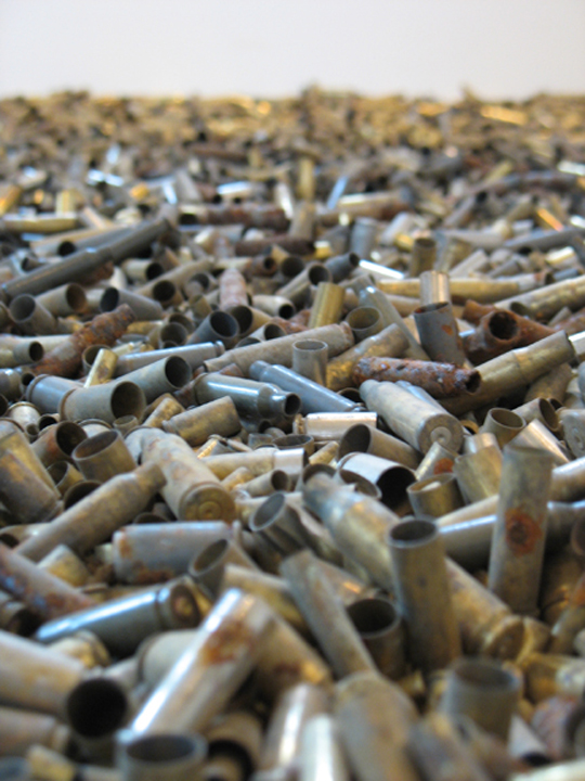 """Portraits' Aftermath (detail)"" Found Bullet Casings, Plexi, Seedlings, Wood, Soil, 2010, 7.5′x7.5′x2.5′"