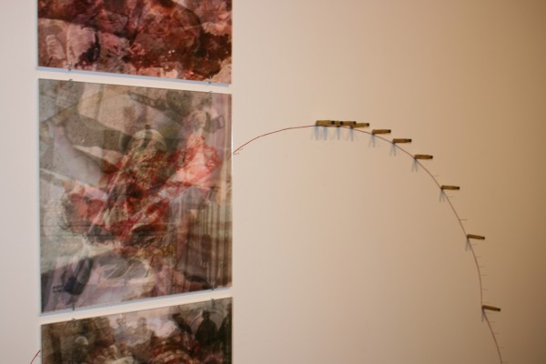 """Latent Savagery 1-3 w/ Collaborations (Detail)""  Composite Photographs on Paper with Spent Bullet Casings and Red Twine, Site Specific, 2010"