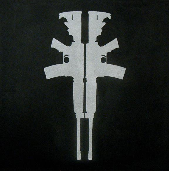 """Diamond Crucifix"" 5 Carats of Natural Diamond Dust, Silkscreen on Canvas, 2009, 12×12″"
