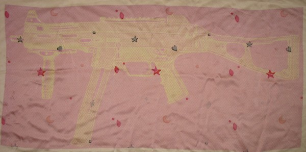 """HK Sub Baby Blanket (Family Friendly Series)""  Pigment Print on Silk, 2010, 38×20″"