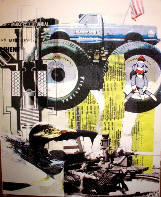 """Get'er Done Abu"" 4 color silkscreen on paper, 2006, 28×20″"