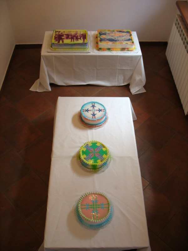 """Let Us Eat Cakes Exhibition View"", Edible Digital Images on White Cake, Icing  Now Art Now Future Biennial, 2008"