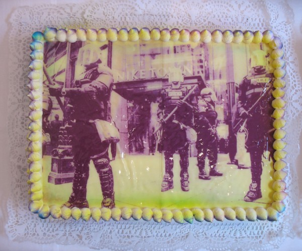 """Portland Cake"", Edible Digital Image on White Cake, Icing  Now Art Now Future Biennial, 2008"