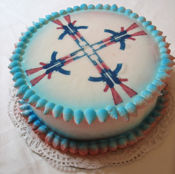 """AK47 Cake"", Edible Digital Image on White Cake, Icing  Now Art Now Future Biennial, 2008"