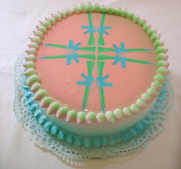 """M16 Cake"", Edible Digital Image on White Cake, Icing  Now Art Now Future Biennial, 2008"