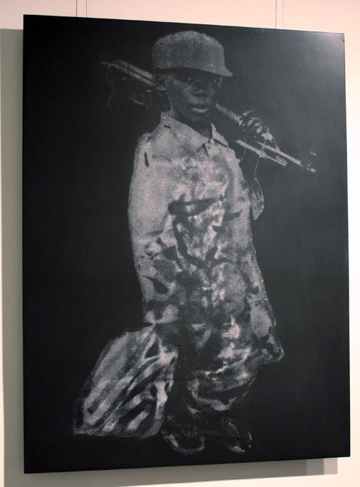 """Child Soldier in Diamond Dust (Sierra Leone Rebels)"" 7 Carats of Natural Diamond Dust Silkscreened on Powder Coated Steel, 2008, 30×22.5″"