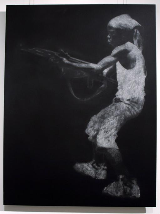 """Child Soldier in Diamond Dust (Rwandan Rebel)"" 7 Carats of Natural Diamond Dust, Silkscreen, on Powder Coated Steel, 2008, 30×22.5″"