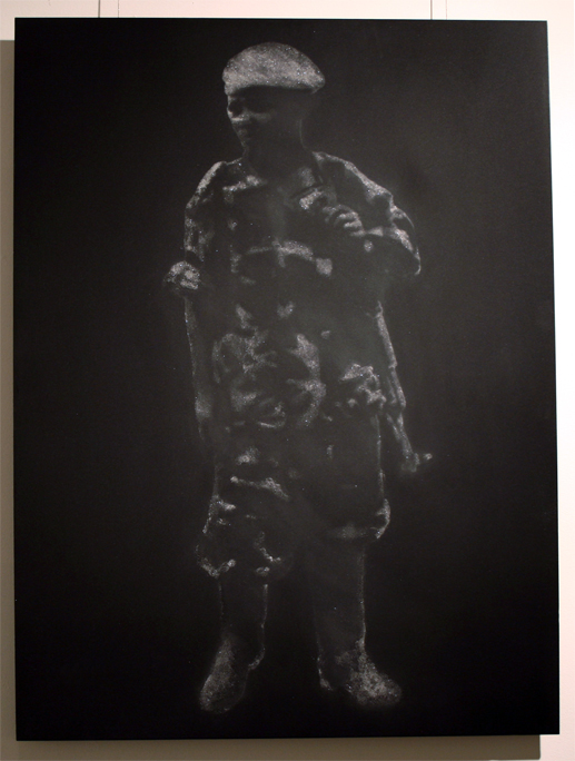 """""""Child Soldier in Diamond Dust (Sierra Leone Government)"""" 7 Carats of Natural Diamond Dust, Silkscreen, on Powder Coated Steel, 2008, 30×22.5″"""