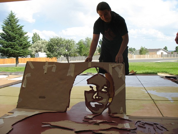 """""""Rock Springs Youth"""" White Mountain Public Library, Rock Springs WY, acrylic patio paint , 2007, 40 x 24′"""