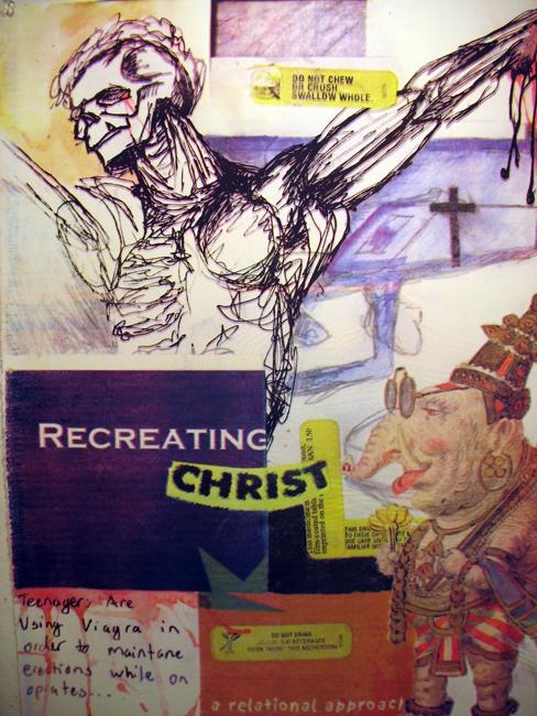 """Recreating Christ"" 4 color silkscreen on paper, 2005, 30×22″"