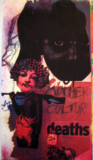 """""""Mother Culture"""" Manipulated 4 color silkscreen on paper, 2005, 30×15″"""