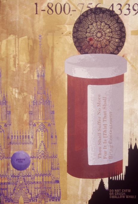 """Thou Shall Suffer No More (Zyban 150)"" silkscreen, watercolor and etching, 2003, 22 x 30″"