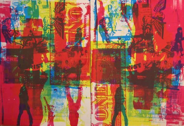 """""""Disko Inferno 2005″ 4 color silkscreen, 2005, 44 x 30″"""