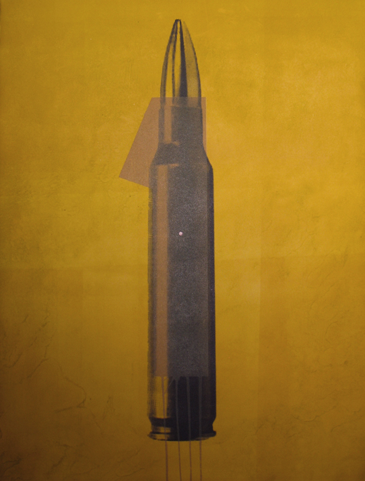 """""""1 shot, 1 victim (Entry Wound)"""" silk screen and monotype, 2006, 22 x 30″"""