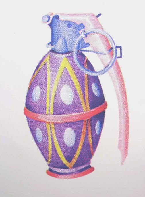 """""""Easter Egg Hand Grenade"""" 4 color silkscreen, 2006, 11 x 15″"""