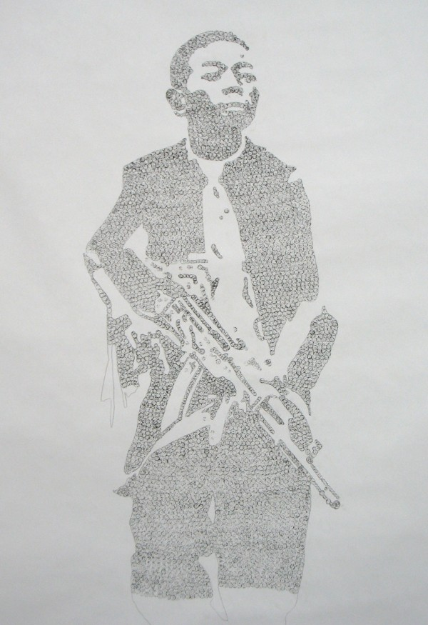 """Child Soldier in Bullets (In Progress)""  Relief Print Using 5.56mm, .22 Bullet Casings and Ink, 4.5×1.5′, 2009"